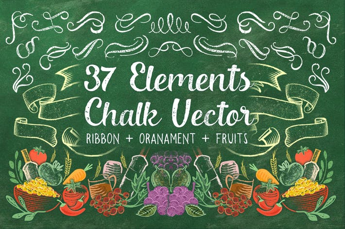 Cover Image For 37 Element Chalk Vector