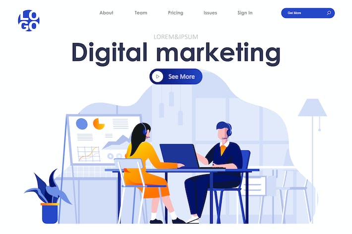 Thumbnail for Digital Marketing Landing Page Flat Concept