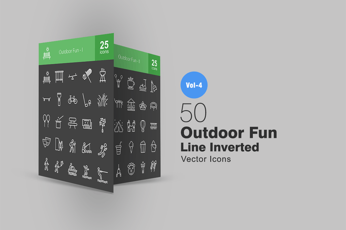 Thumbnail for 50 Outdoor Fun Line Inverted Icons