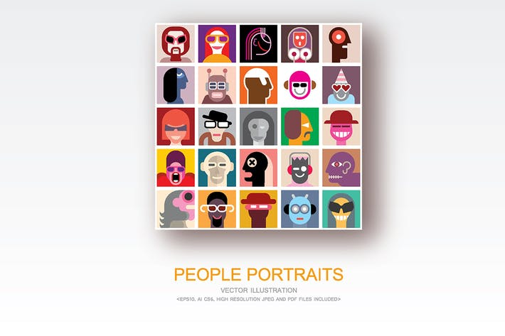 Thumbnail for People Portraits vector flat style pop art collage