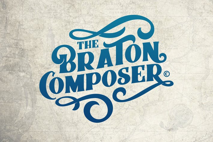 Thumbnail for Braton Composer Typeface