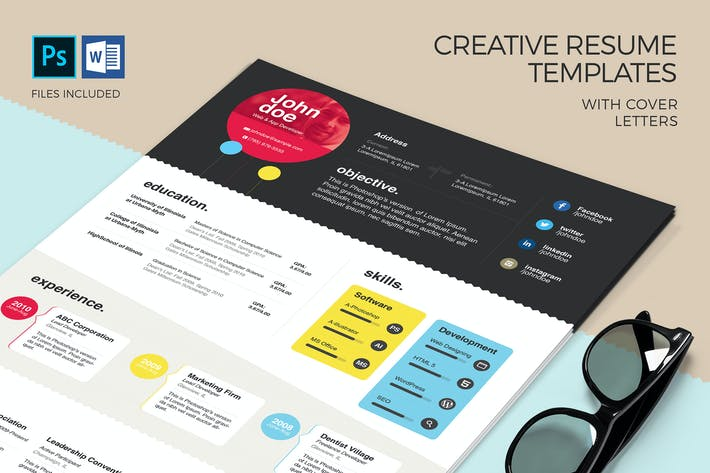 Creative Resume Template Cover Letter By Zippypixels On Envato