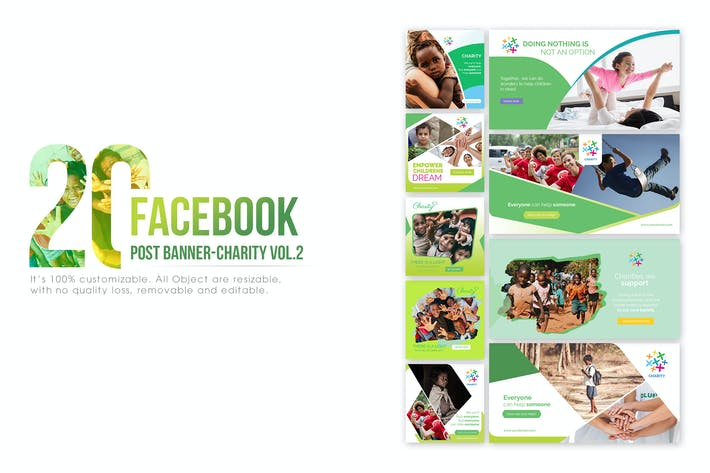 20 facebook post banner charity 02 by wutip on envato elements