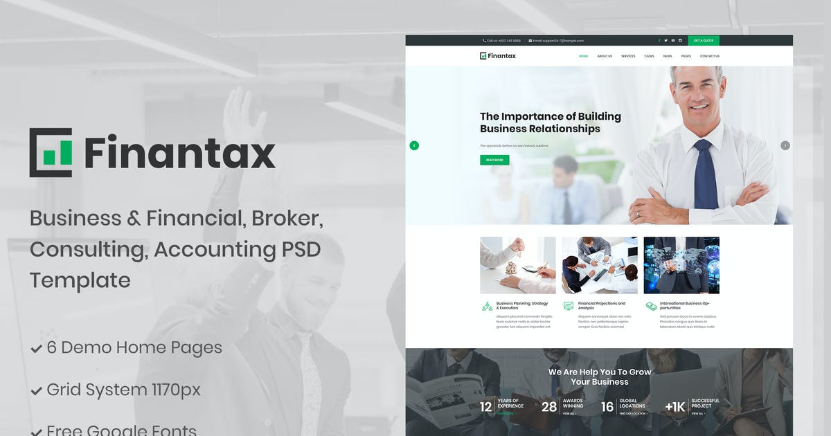 Download Finantax - Business and Finance Corporate Template by AuThemes