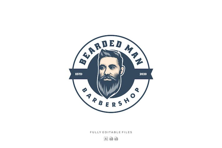 Cover Image For Barbershop Badge Modern Logo Template