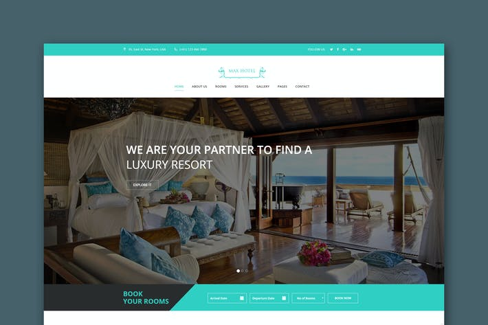 Cover Image For Max Hotel - Hotel Booking HTML Template