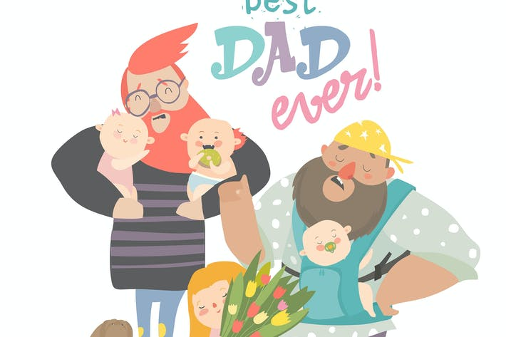 Thumbnail for Happy Fathers day card. Fathers with their babies.