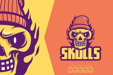 Skull Fire Logo Mascot