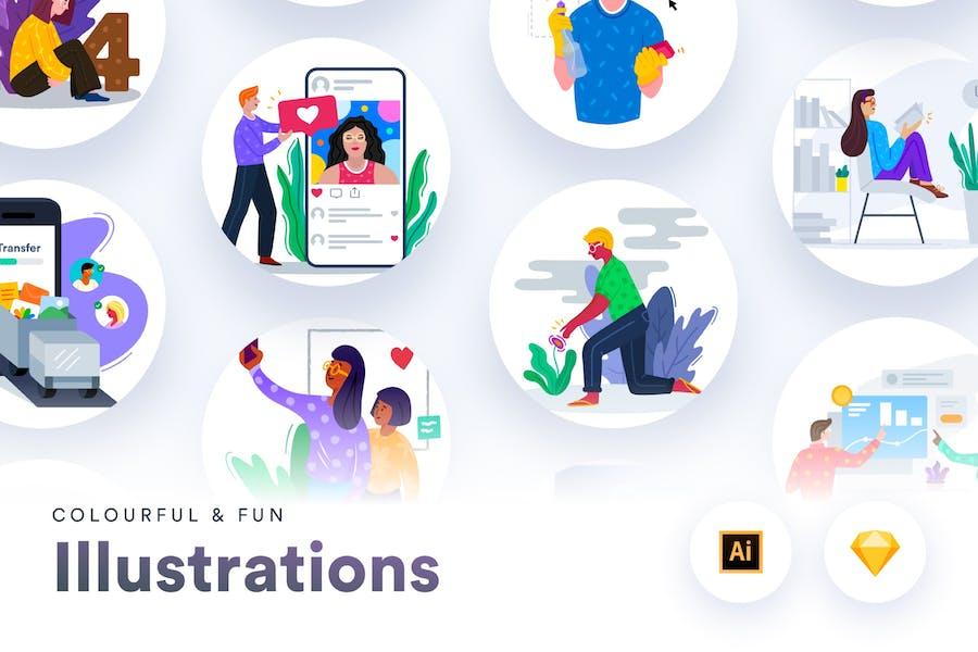 Colourful & Fun Illustrations