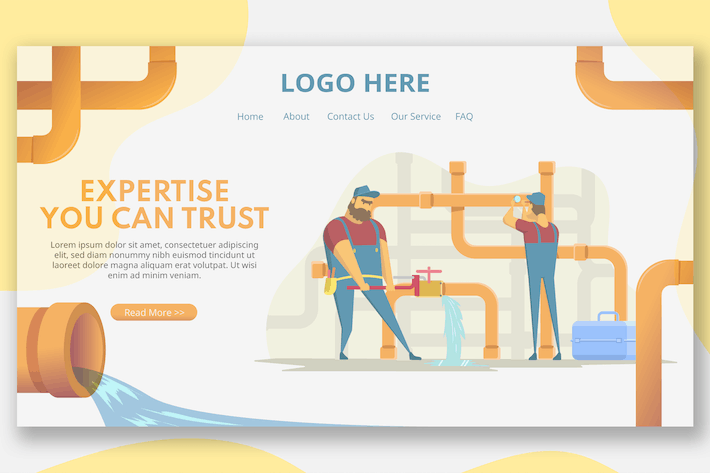 Pipe Workers Illustration - Landing Page