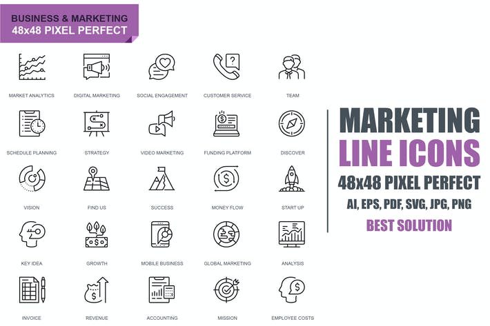 Simple Set Business and Marketing Line Icons