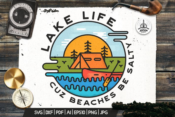 Thumbnail for Lake Life Logo, Vintage Adventure Badge Camp Patch