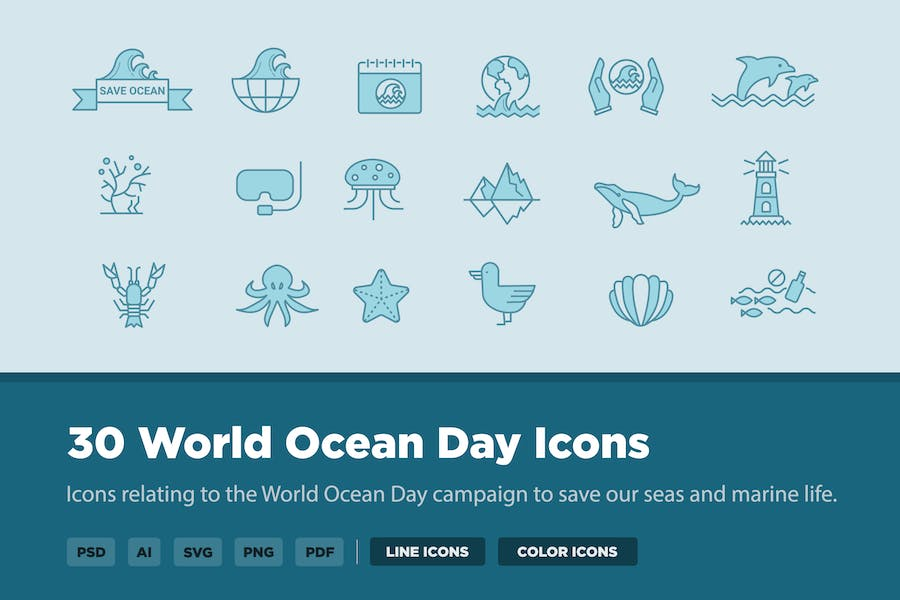 30 World Ocean Day Icons