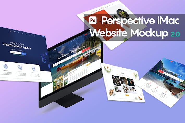 Thumbnail for Perspective iMac Website Mockup 2.0