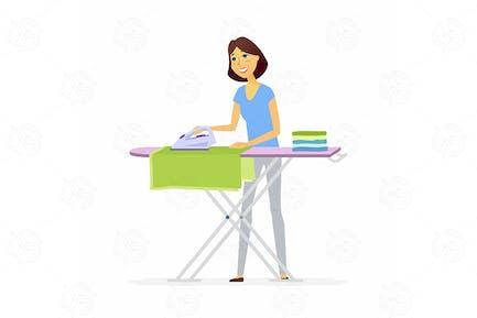 Mujer joven planchar ropa - ilustración Vector