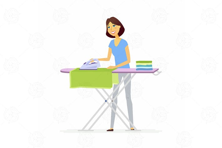 Thumbnail for Young woman ironing clothes - vector illustration