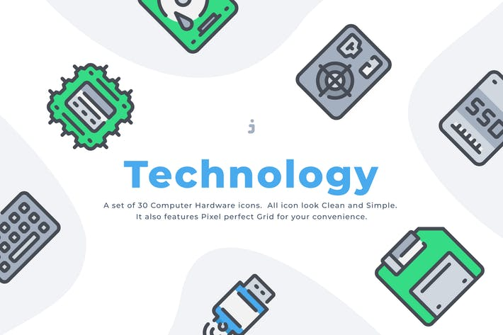 Thumbnail for 30 Computer Hardware icon set