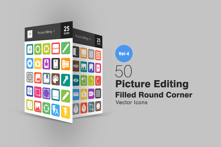 Thumbnail for 50 Picture Editing Flat Round Corner Icons