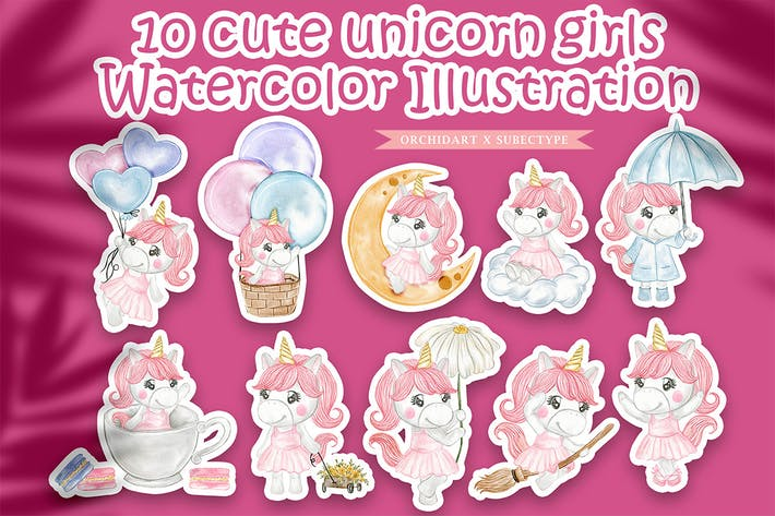 Thumbnail for cute unicorn girls watercolor illustration