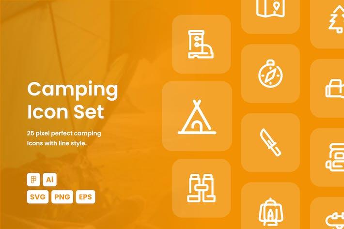 Camping gestrichelte Linie Icon Set