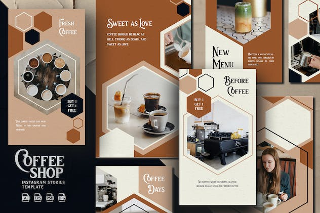 Hexagon Brown Theme -Coffee Shop Instagram Stories