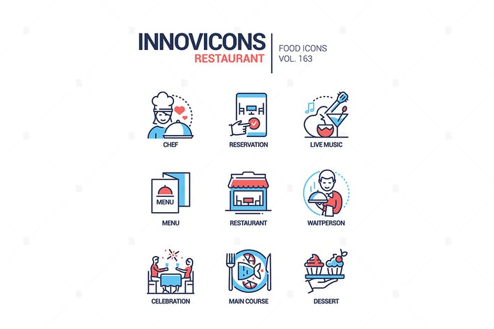 Thumbnail for Restaurant - moderne Linie Design Stil Icons gesetzt