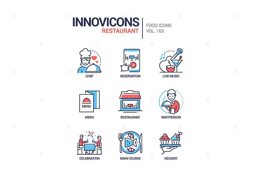 Restaurant - modern line design style icons set