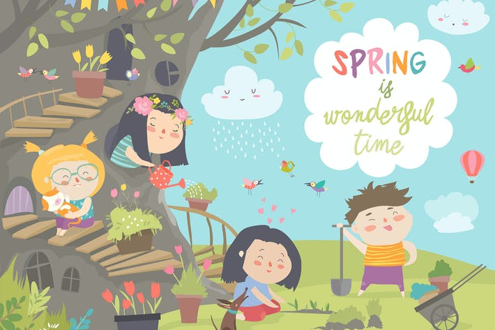 Thumbnail for Cute cartoon kids are gardening in spring park.