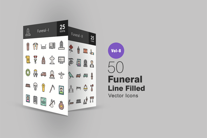 Thumbnail for 50 Funeral Line Filled Icons