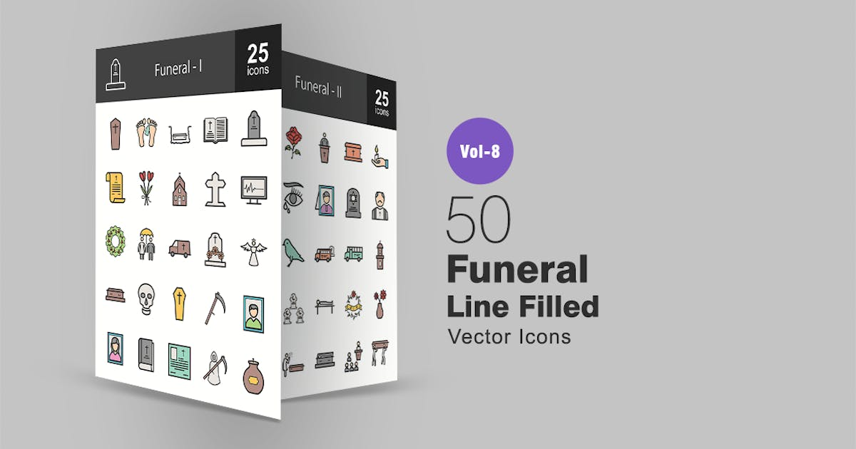 Download 50 Funeral Line Filled Icons by IconBunny