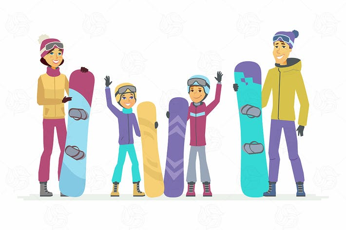 Cover Image For Family goes snowboarding - vector illustration