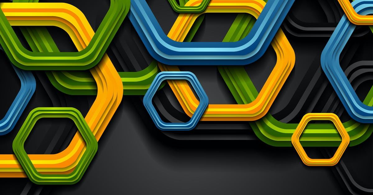 Colorful abstract tech hexagons background by saicle