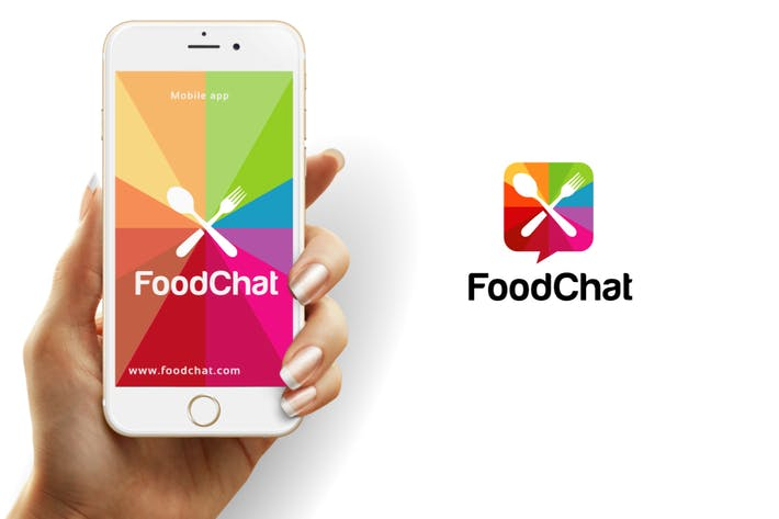 Thumbnail for Food Chat Logo Template