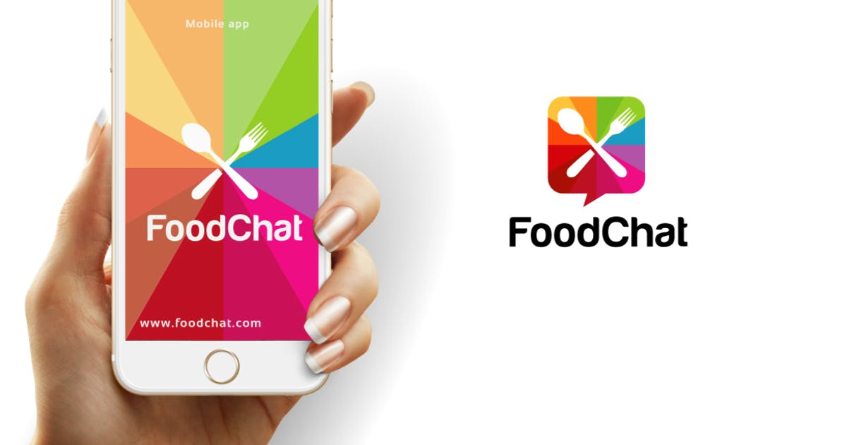Food Chat Logo Template by designhatti