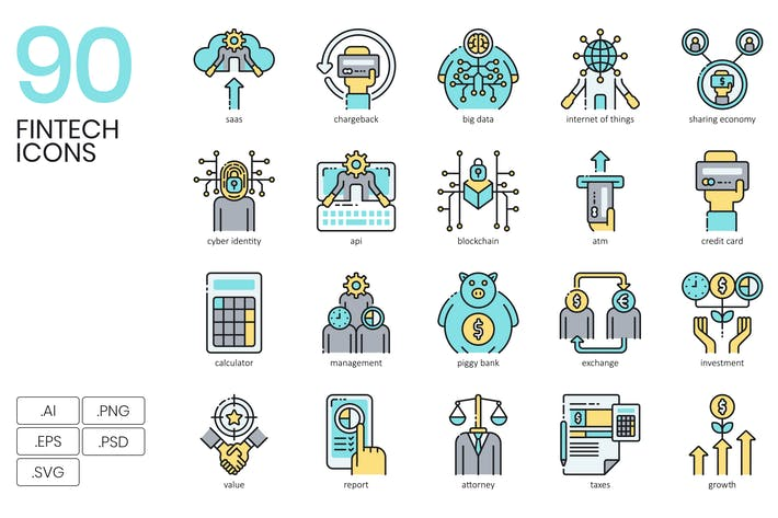Thumbnail for 90 Fintech Icons