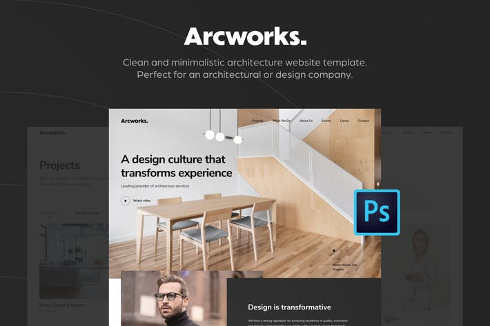 Cover Image For Arcworks — Architecture Firm PSD Template