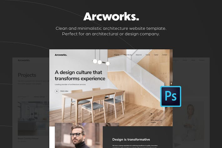 Thumbnail for Arcworks — Architecture Firm PSD Template