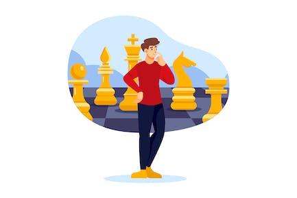 Hombre de negocios de pie mientras pensaba en tablero de ajedrez
