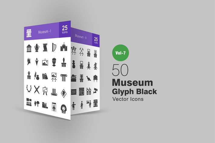 Cover Image For 50 Museum Glyph Icons