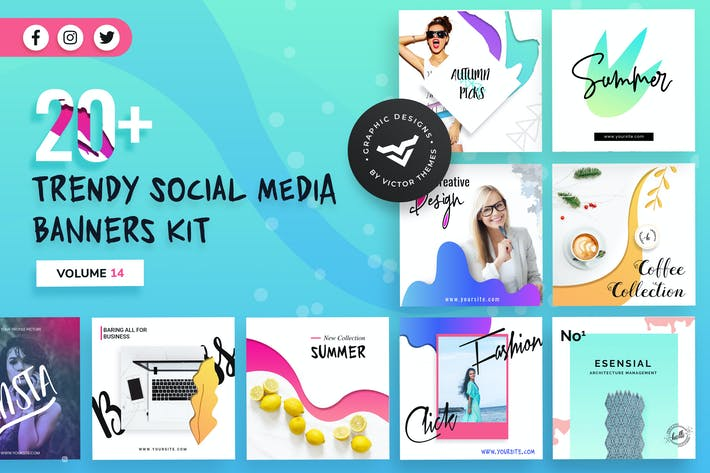 Thumbnail for Social Media Banners Kit Volume XIV