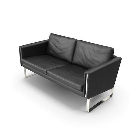 Black Leather Sofa Twin