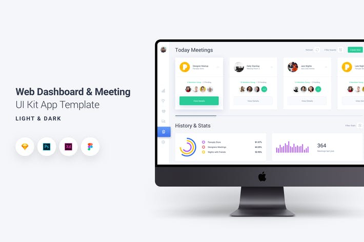 Thumbnail for Web Dashboard & Meeting UI Kit App Template 8