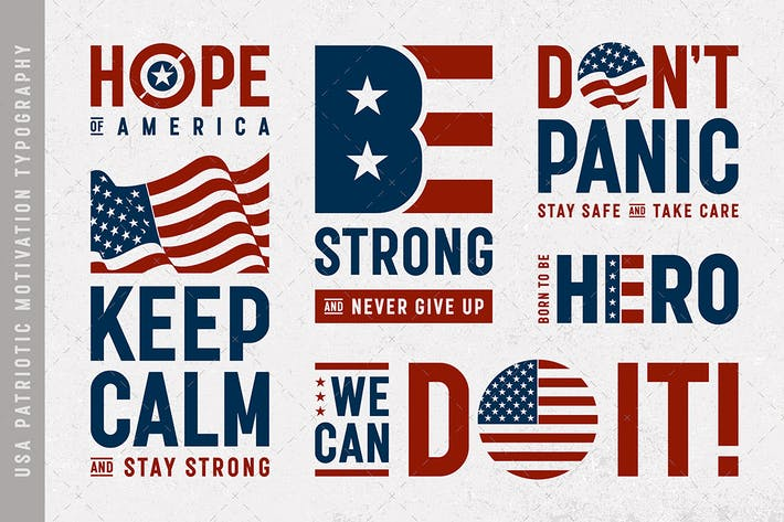 USA Patriotische Motivation Typografie und Logos Set