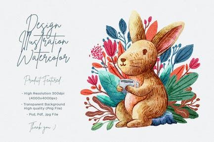 illustration de lapin mignon avec motif aquarelle