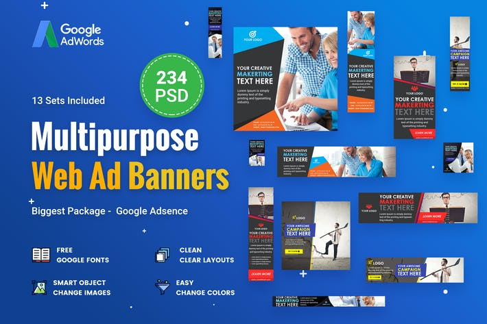 Thumbnail for Multipurpose Banners Ad - 234 PSD