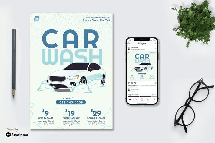 Thumbnail for Bright Car Wash - Flyer & Instagram Post GR