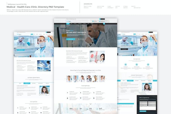 Thumbnail for Medical - Health Care, Clinic PSD Template