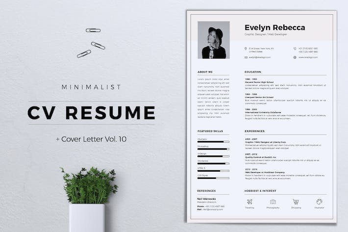 Thumbnail for Minimalist CV Resume Vol. 10