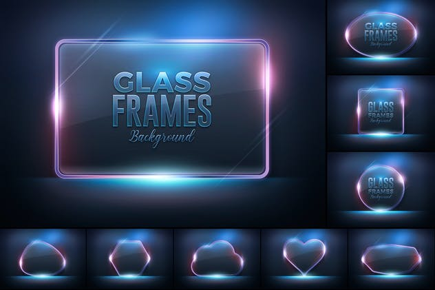 Glass Frame Glossy Background