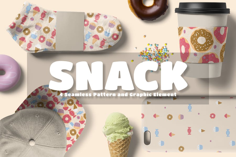 Snack Nahtloses Muster und Grafikelement